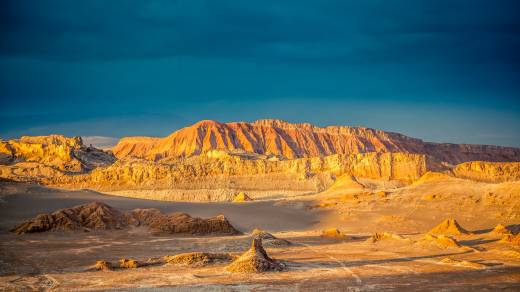 The Atacama Desert in the evening.