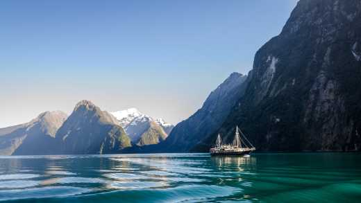 Beautiful Fjords in the New Zealand horizon.