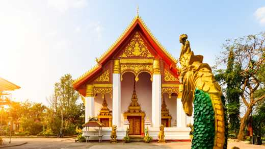 View of the Pha That Luang temple in Vientiane Laos