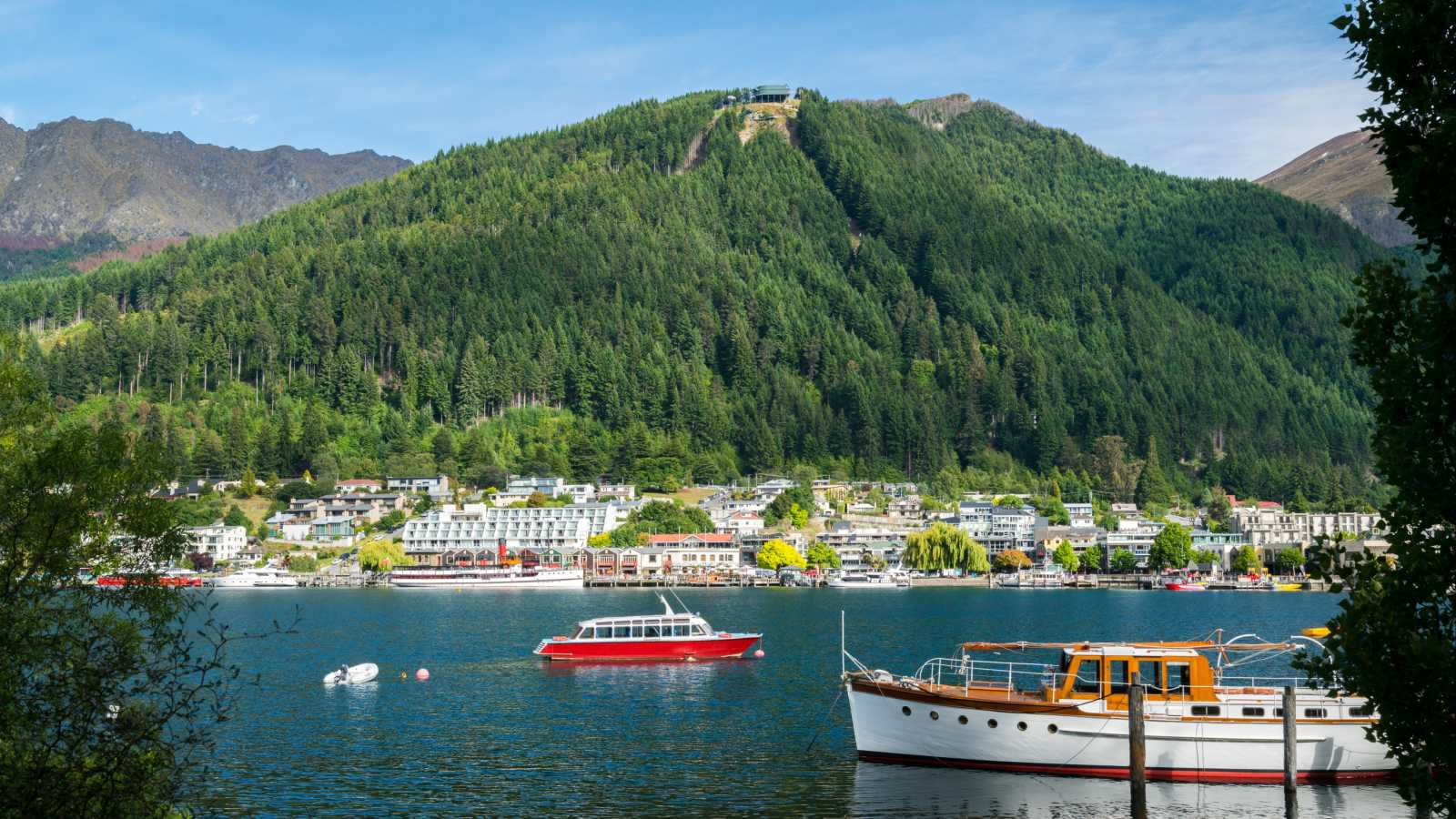 Oceania, New Zealand, view of Queenstown harbor with a green forested hill in the background.