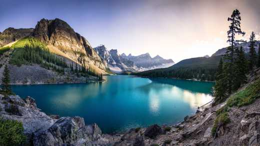 Panorama over Moraine Lake in Canada