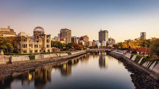 Skyline of Hiroshima, Japan in the evening with bombed dome