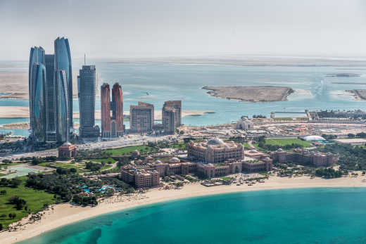 Abu Dhabi area view from helicopter