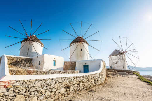 See beautiful windmills on a Mykonos vacation