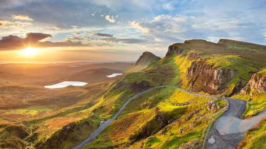 See Quiraing Mountain at dusk on an Isle of Skye vacation