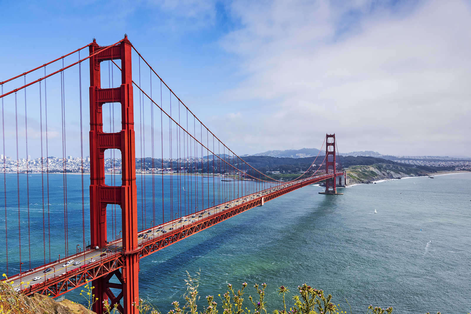 View of the landmark of San Francisco: The Golden Gate Bridge in the USA