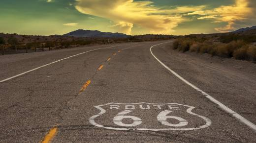 Wide-angle shot of Route 66.