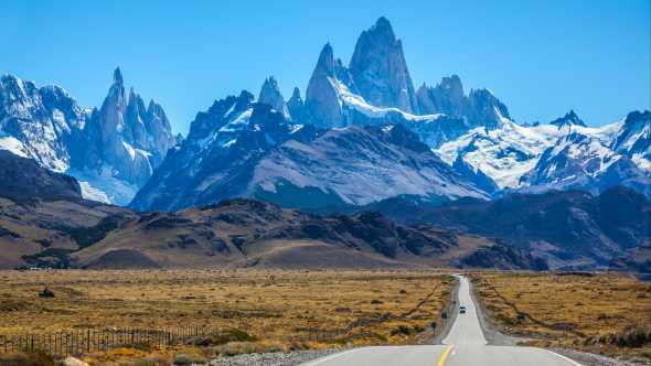 See Mount Fitzroy Peak in Argentina, pictured here in the sunlight, on a tour of Argentina and Chile