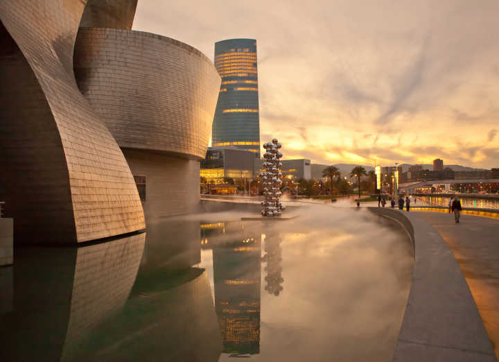 See the Guggenheim Musem in Bilbao, pictured here, on a Bilbao vacation