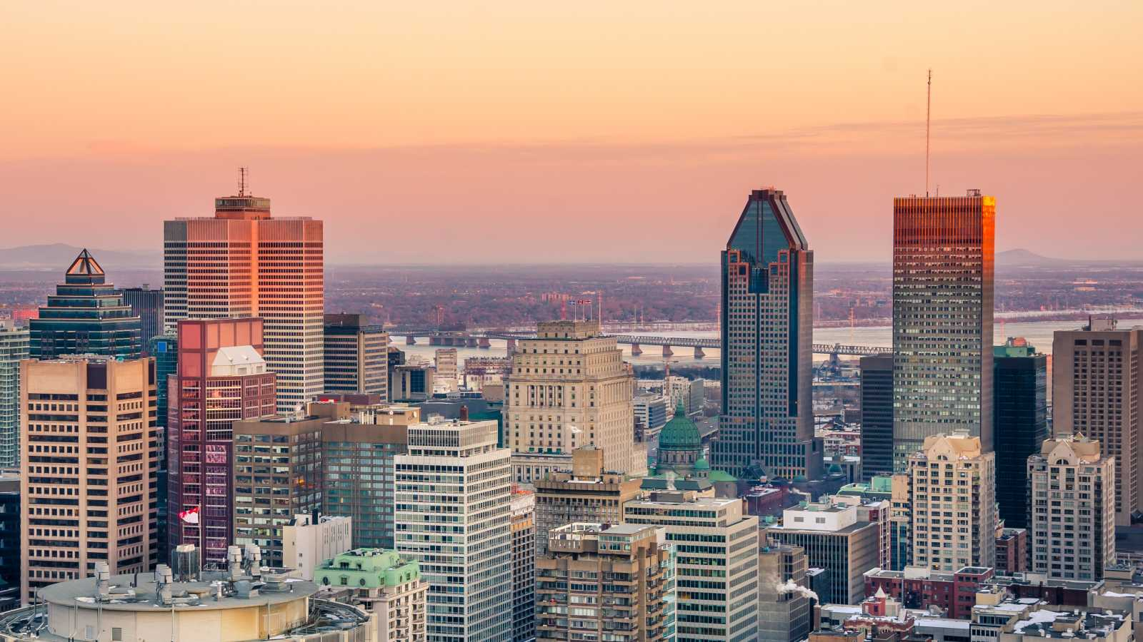 A view over Montreal at sunset