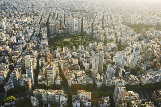Discover the skyline of Buenos Aires, here viewed from above, on a Buenos Aires vacation