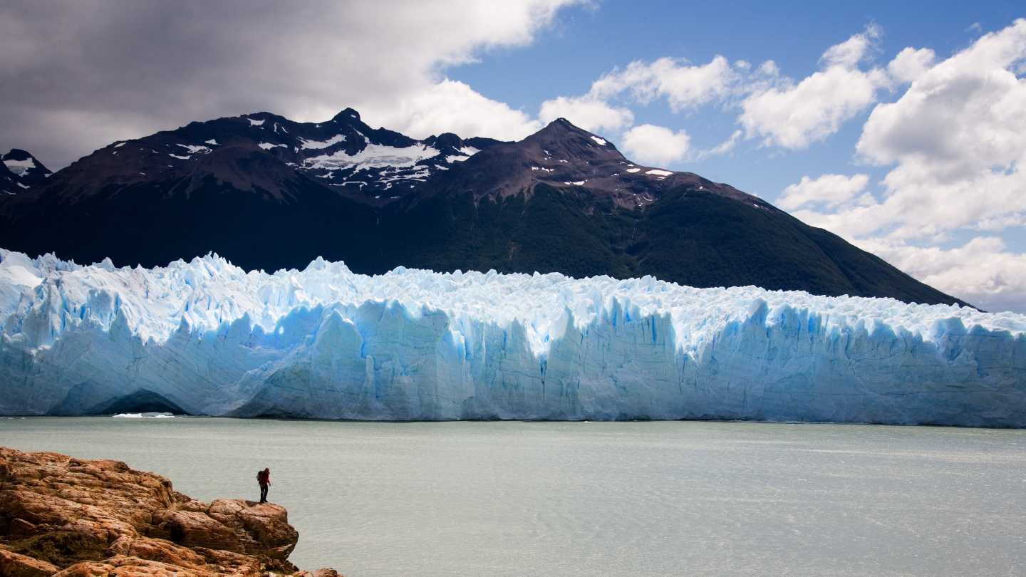 View spectacular glaciers, pictured here, on a Patagonia cruise and hiking tour