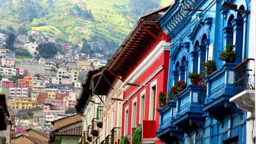 Colorful colonial houses line the streets of Quito.