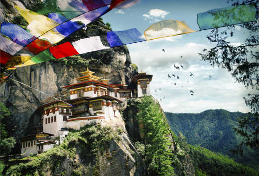 Monastery in the tiger cave in Bhutan
