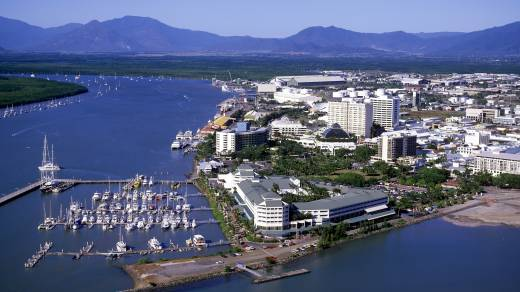 An aerial shot of Cairns during the day.