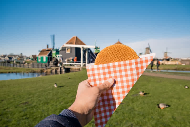 A stroopwafel or waffle, a typical Dutch dessert that you can enjoy during your Holland trip.