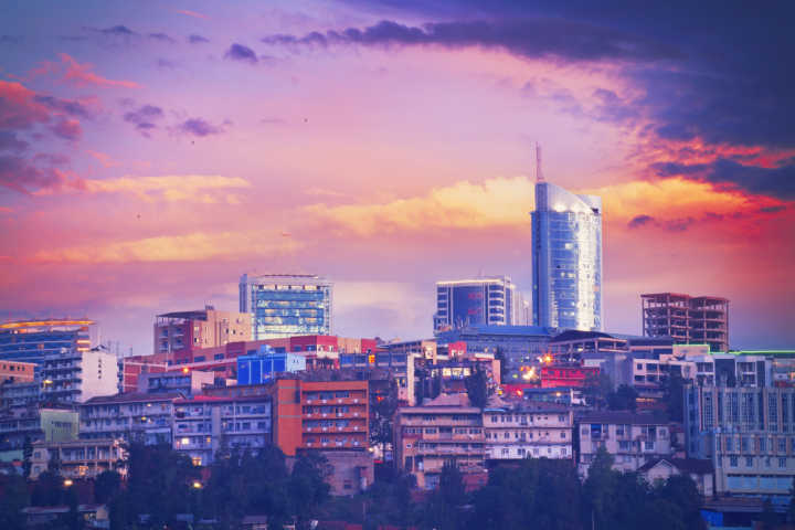 See the skyline of Kigali at night, pictured here, on a Rwanda tour