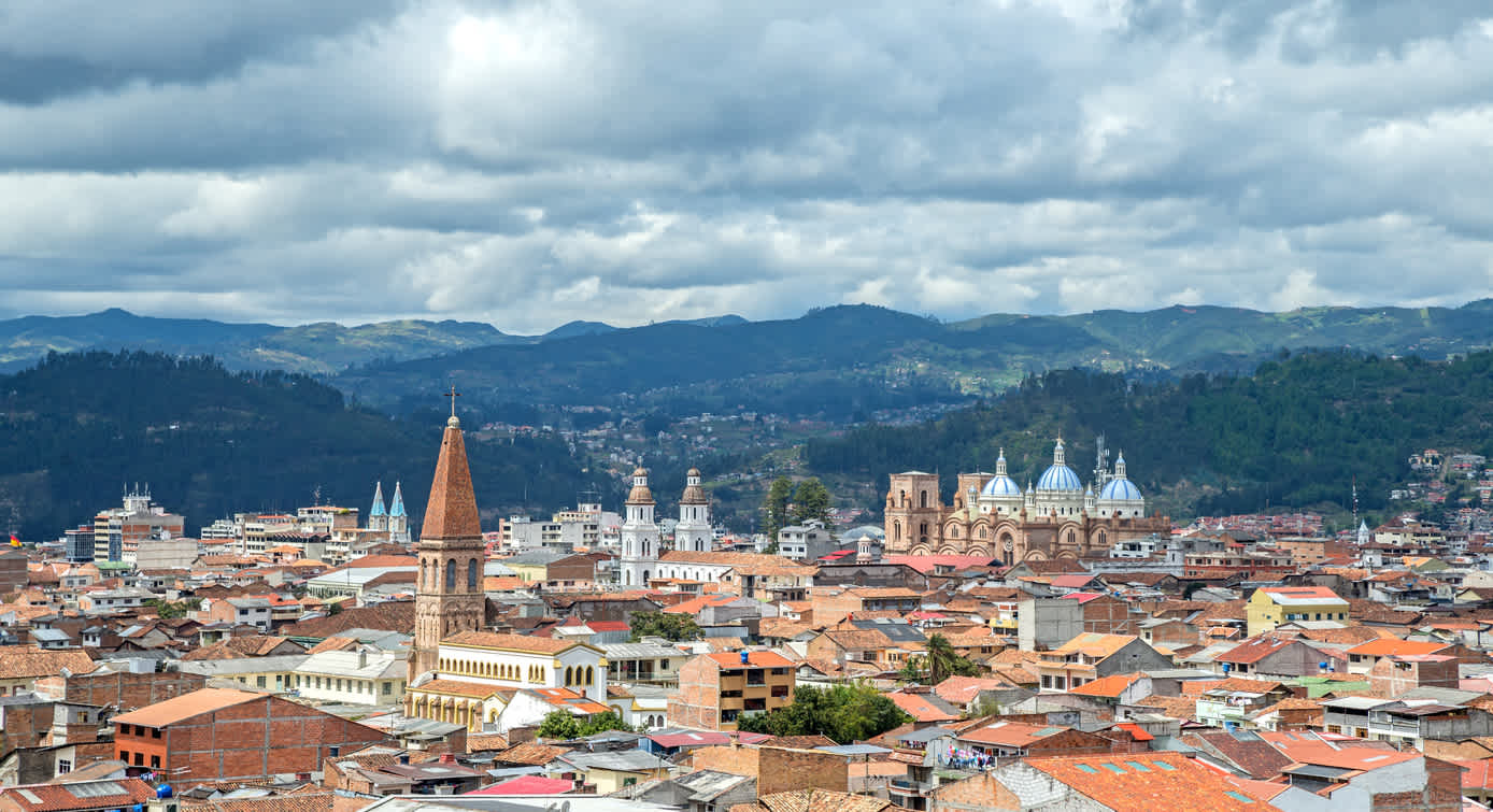 Visit the beautiful Ecuadorian city of Cuenca, pictured here from above, on a Cuenca vacation