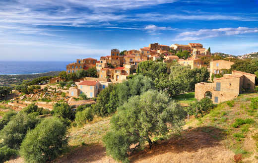 View of a picturesque village on the island of Corsica