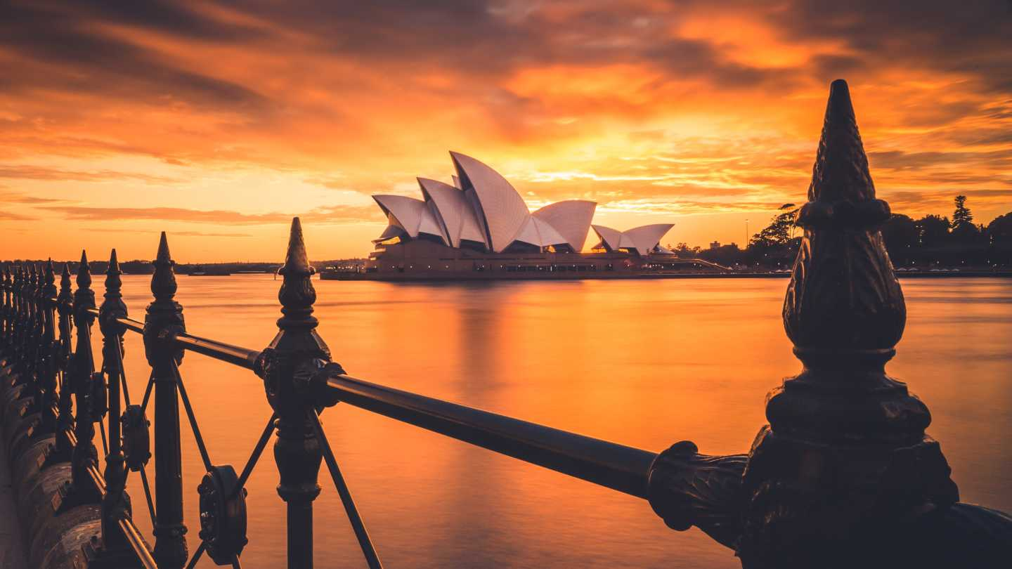 The Sydney Opera House at sunset.