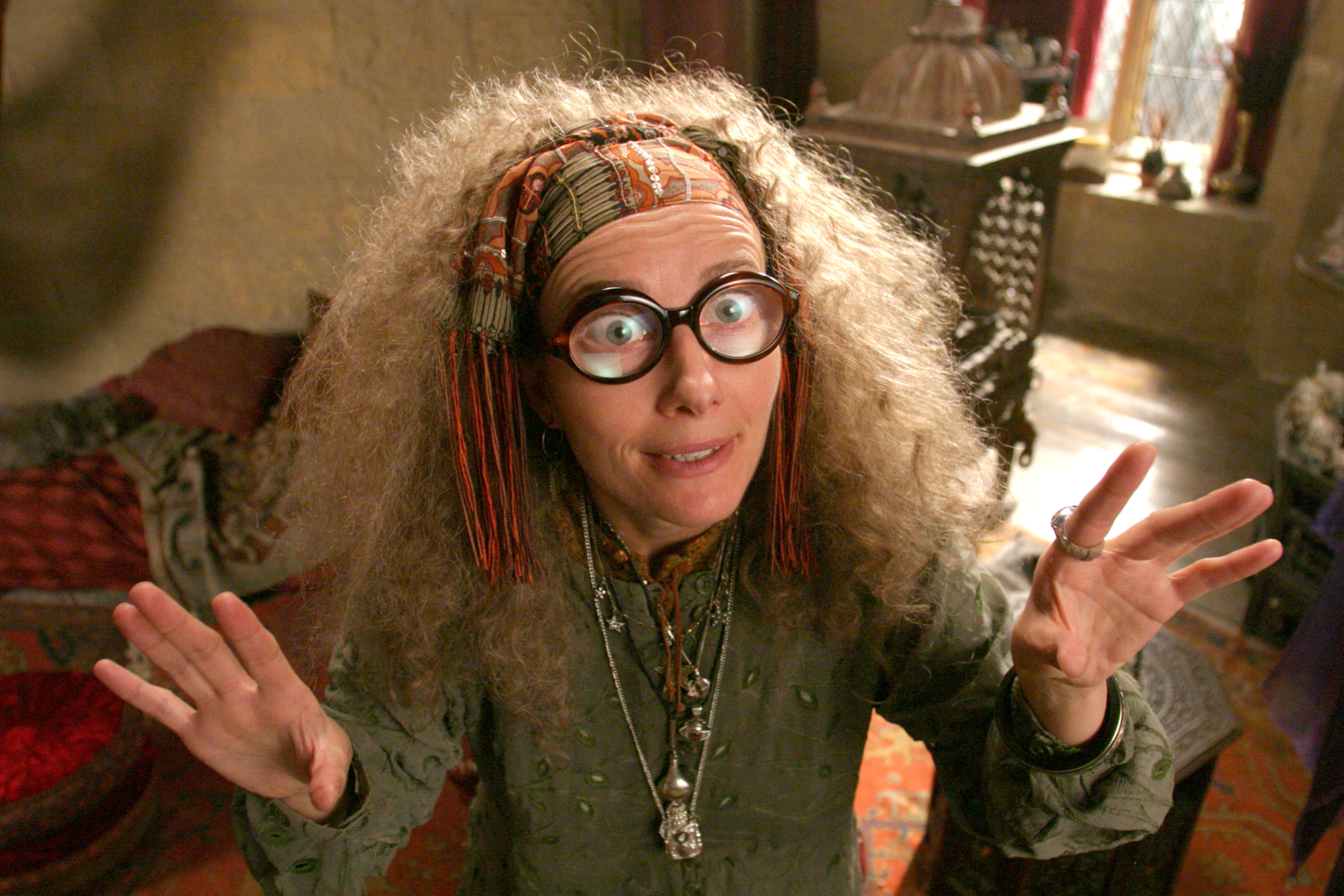 Sybill Trelawney looking mystically mad from the Prisoner of Azkaban