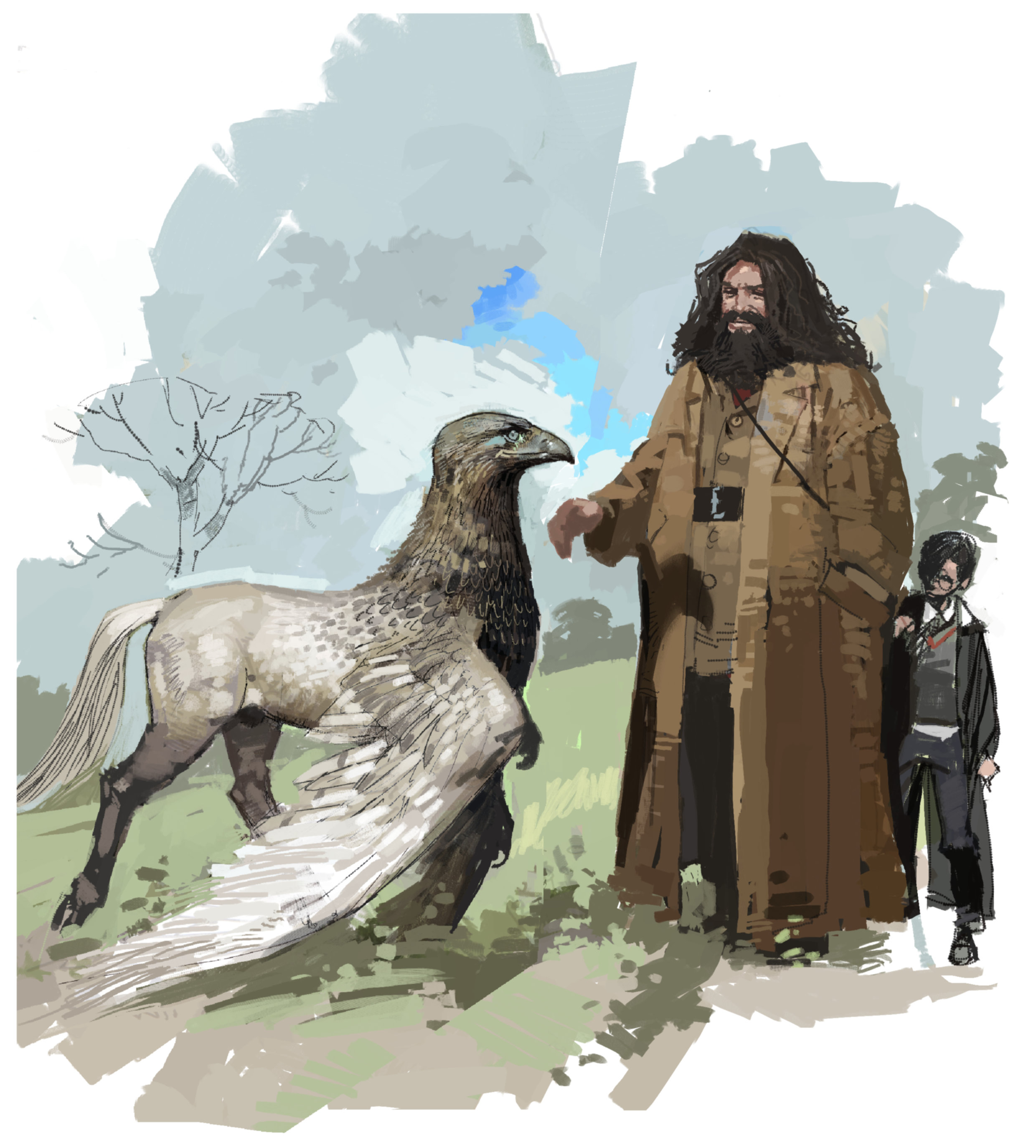 An illustration of Hagrid and Harry with a Hippogriff