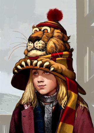 Luna wearing her Gryffindor roaring lion hat