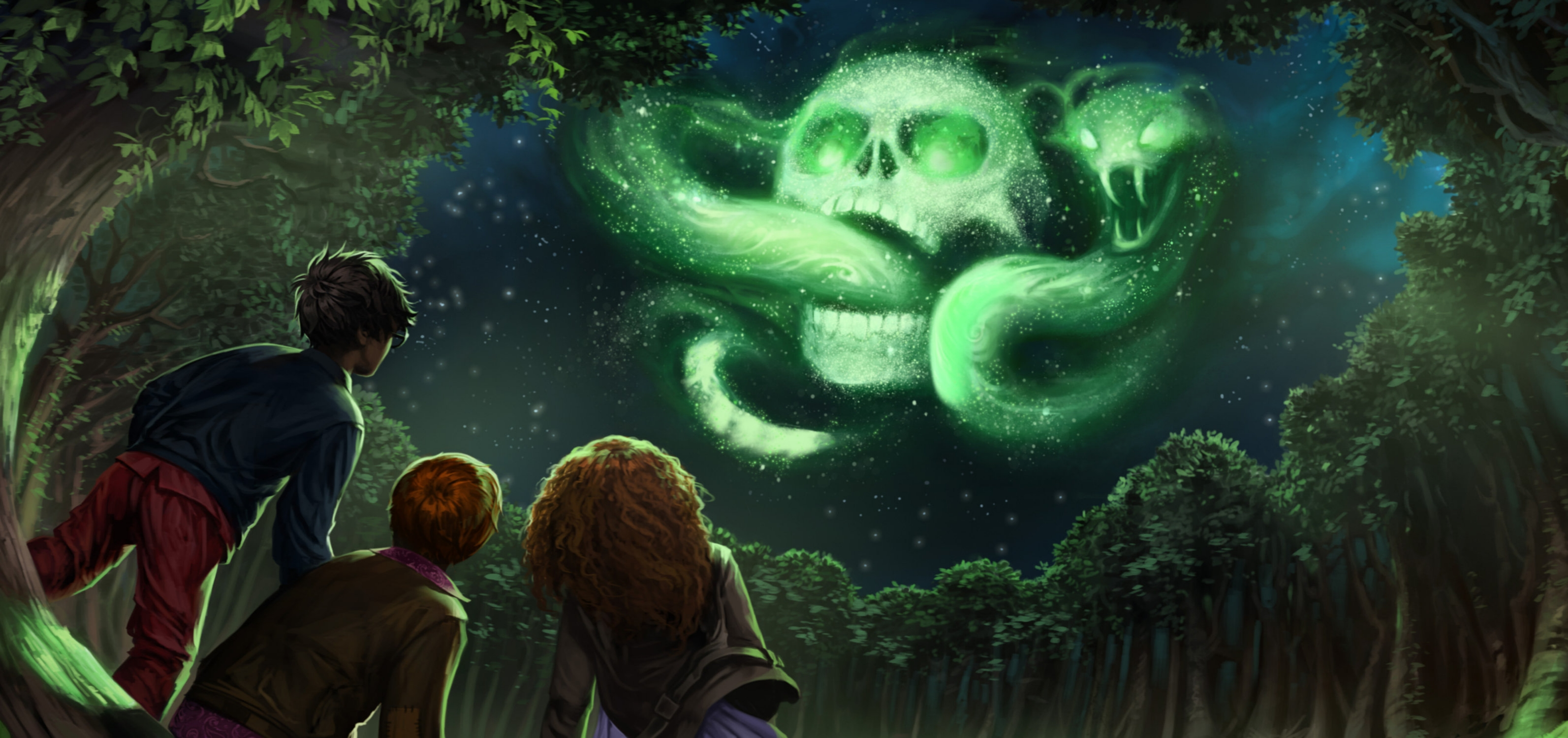 Harry, Ron and Hermione see the Dark Mark in the sky