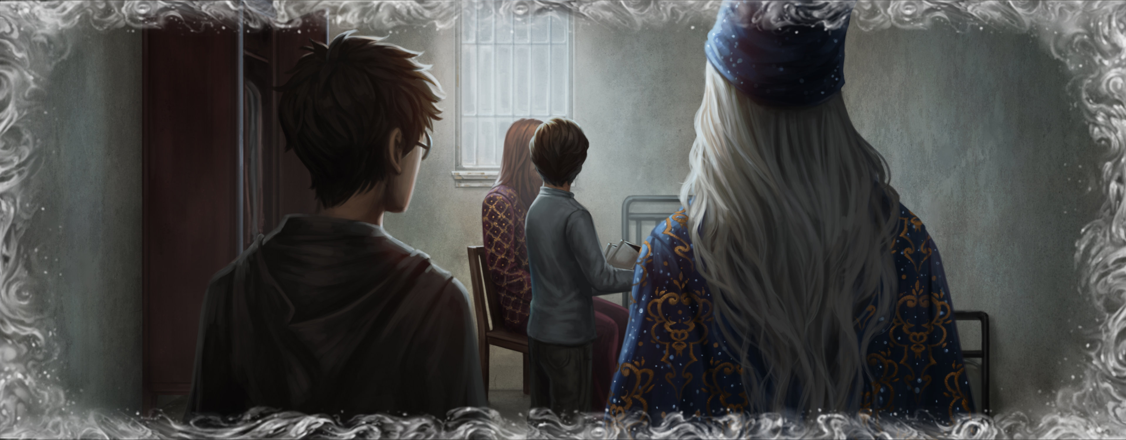 Dumbledore and Harry watch Tom Riddle as a child in a memory.