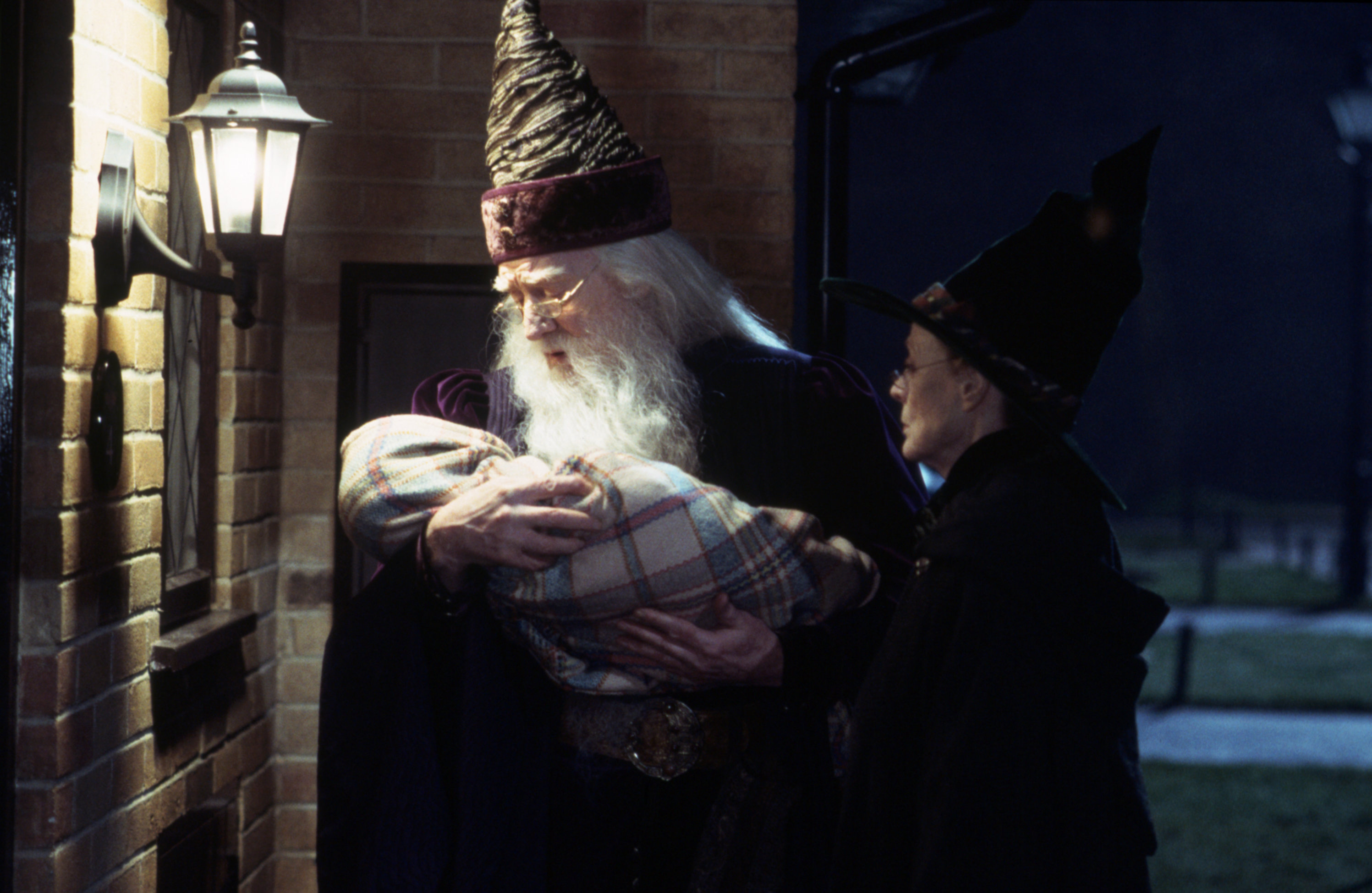 Dumbledore and McGonagall leave baby Harry at Privet Drive