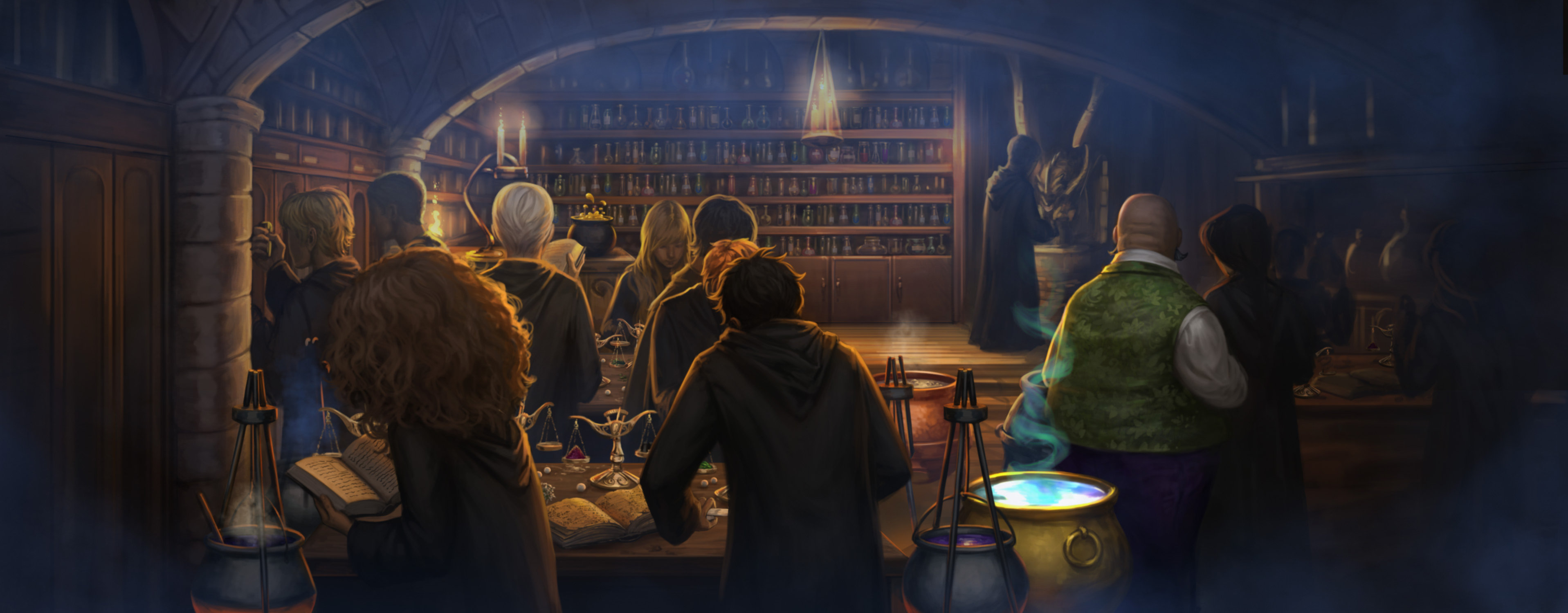 Professor Slughorn teaches potions to Harry's class