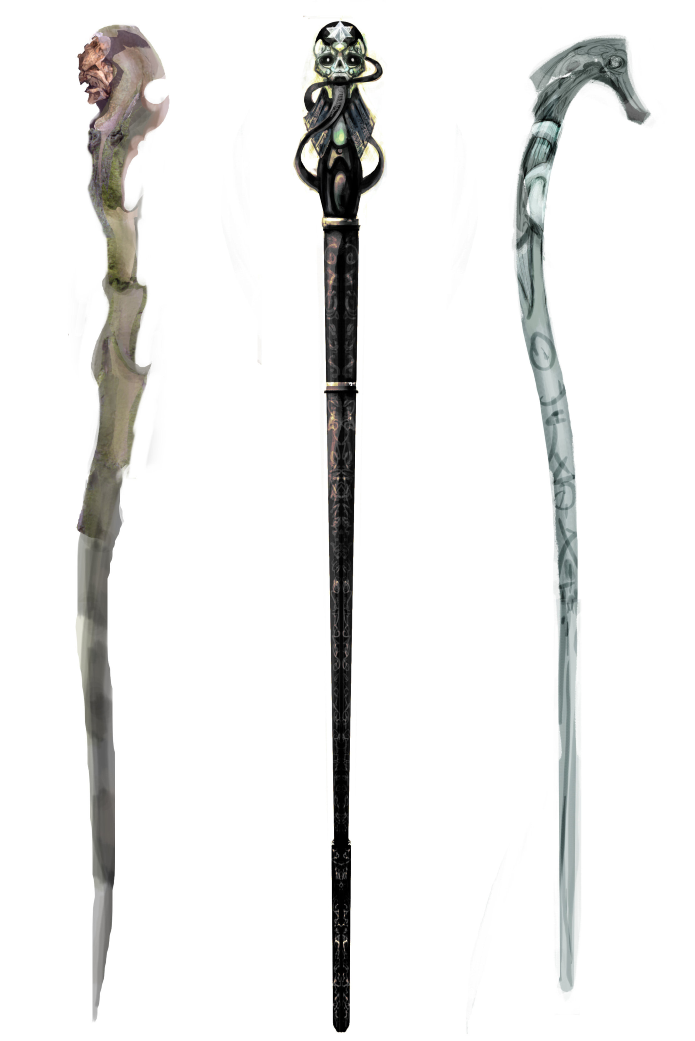 Three Death Eaters Wands from the Goblet of Fire.