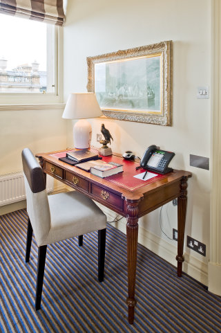 The desk in the J.K. Rowling Suite where the author finished writing Harry Potter and the Deathly Hallows