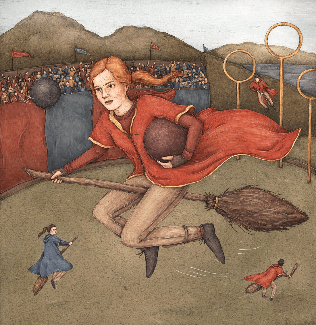 Illustration of Ginny Weasley playing Quidditch, by Jessica Roux