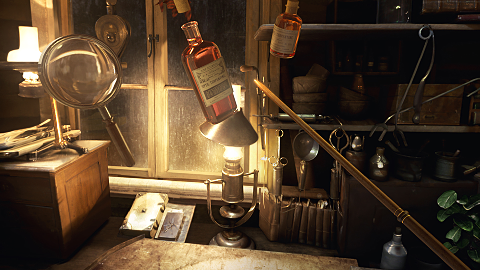 Screenshot of objects floating around Newt's workbench from the Fantastic Beasts and Where to Find Them VR game
