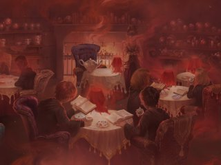 A steam filled divination class room from the Prisoner of Azakban