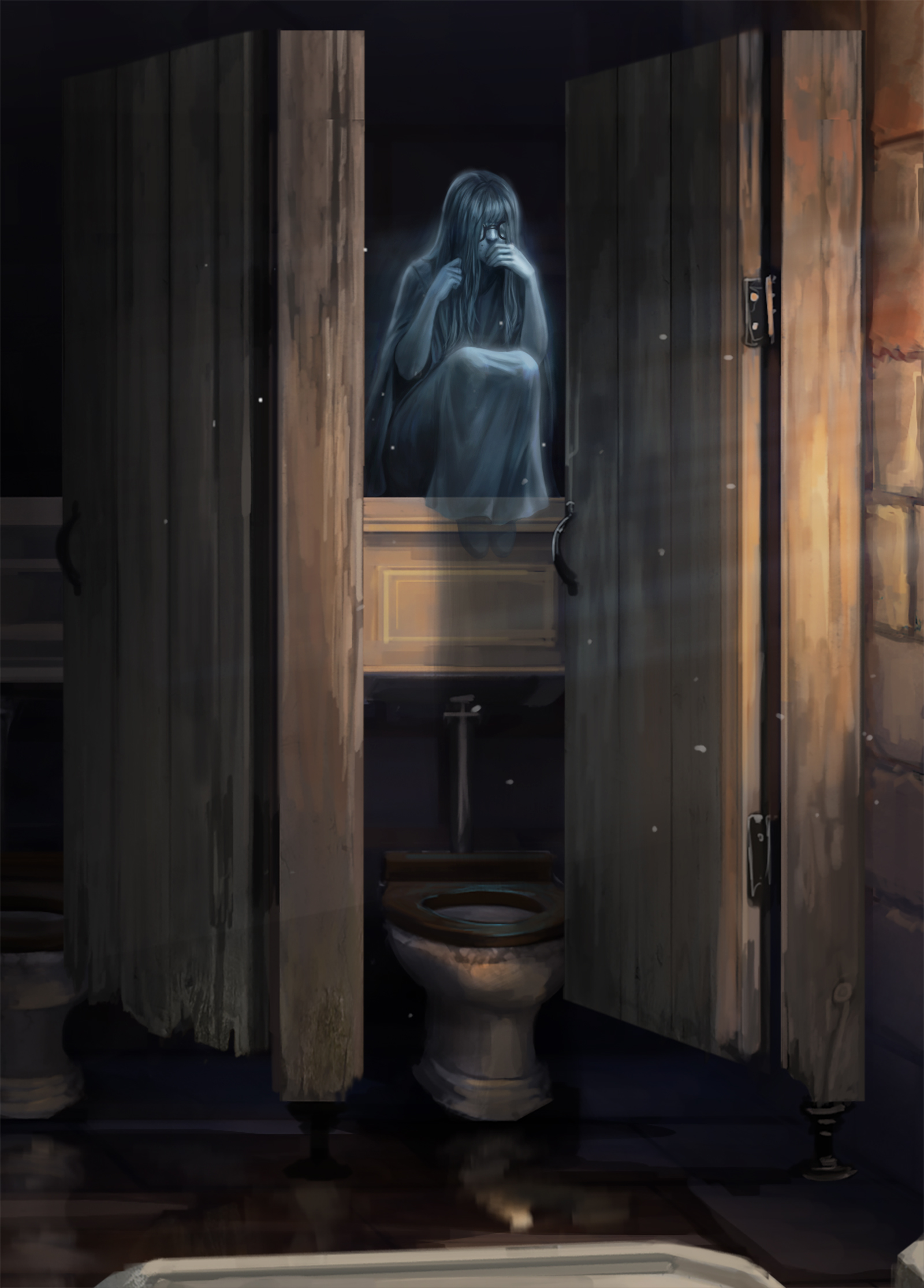 Moaning Myrtle in her bathroom