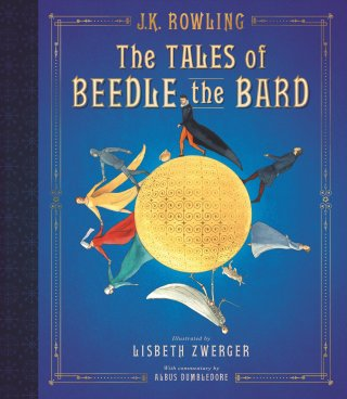 Scholastic's cover for The Tales of Beedle the Bard - Illustrated Edition. Artwork by Elsbeth Zwerger.