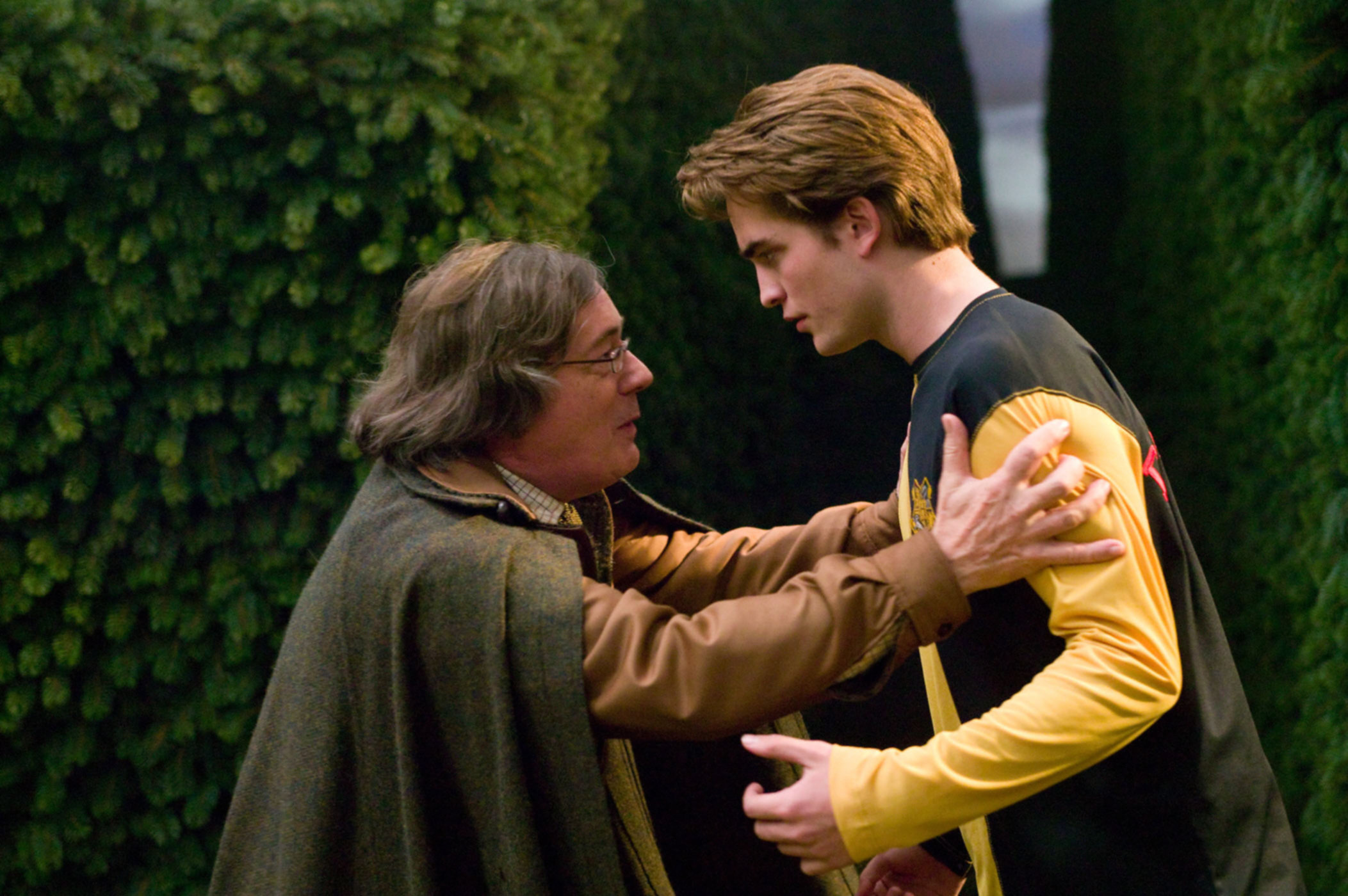 Cedric and Amos before the final Triwizard Challenge.