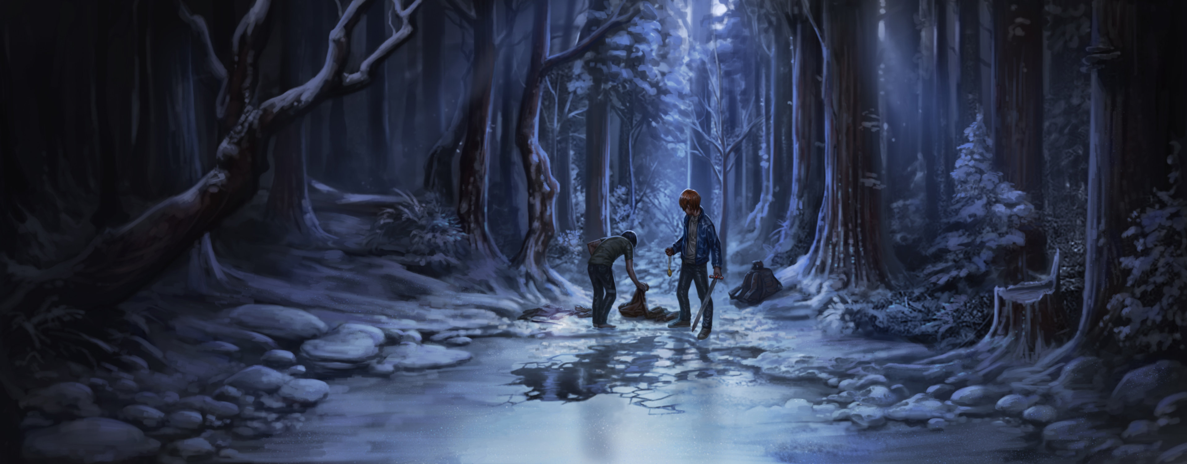 Ron saves Harry from the ice lake.
