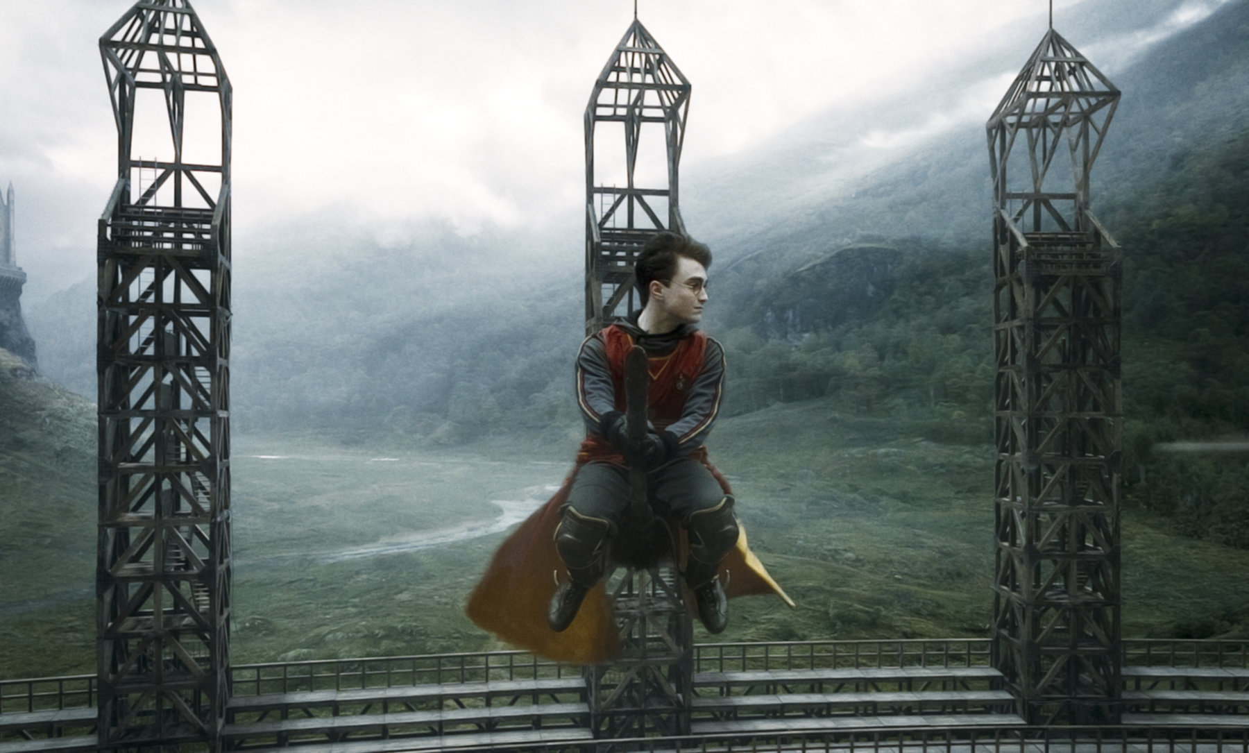 Harry playing quidditch in the Half Blood Prince