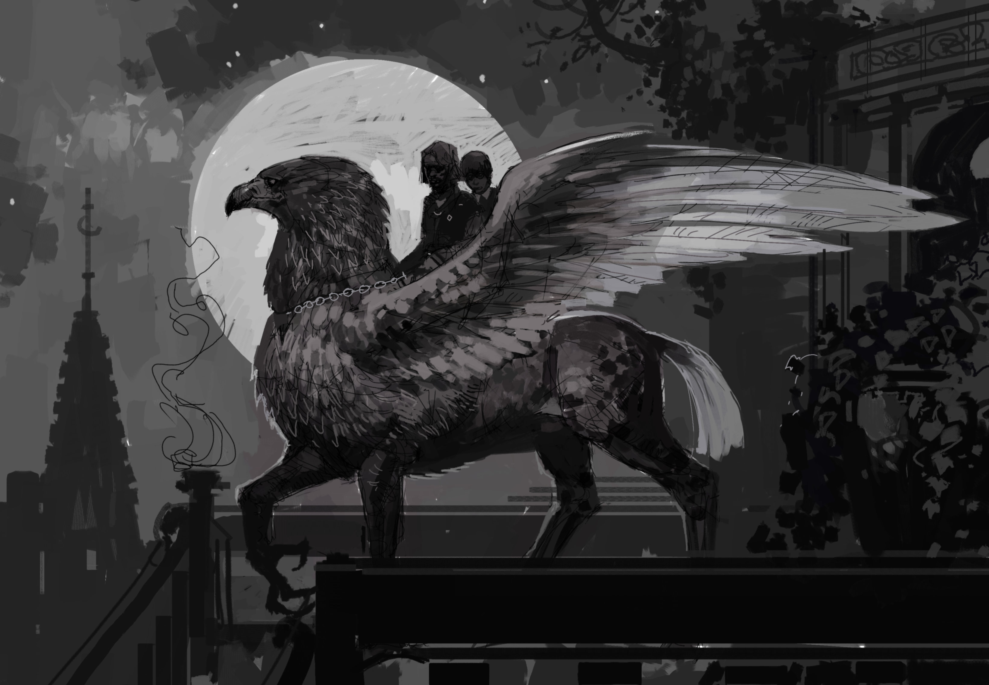 An illustration of Sirius and Harry on Buckebeak