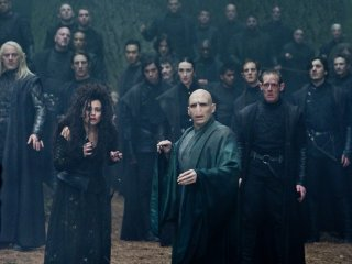 Voldemort and his Death Eaters in the Forbidden Forrest from The Deathly Hallows