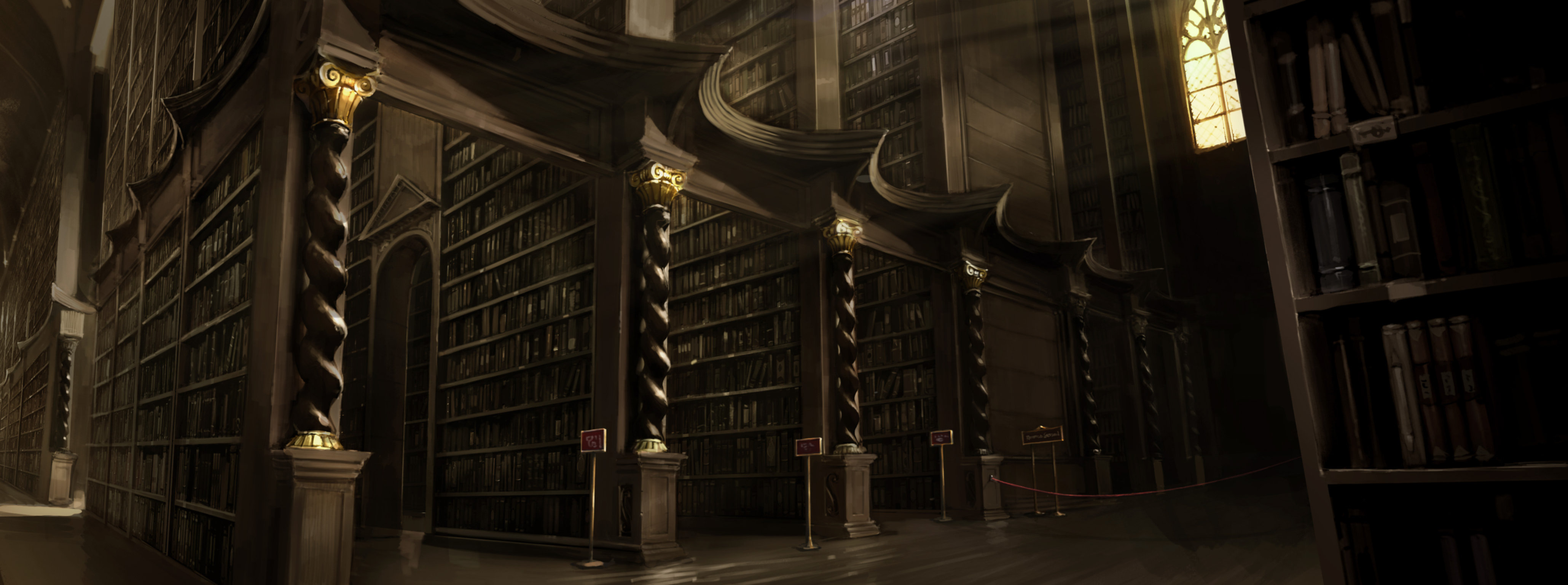 Harry Rona and Hermione search for Nicholas Flamel's name in the libary