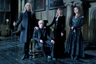 A family photo of Lucius Narcissa Draco and Bellatrix