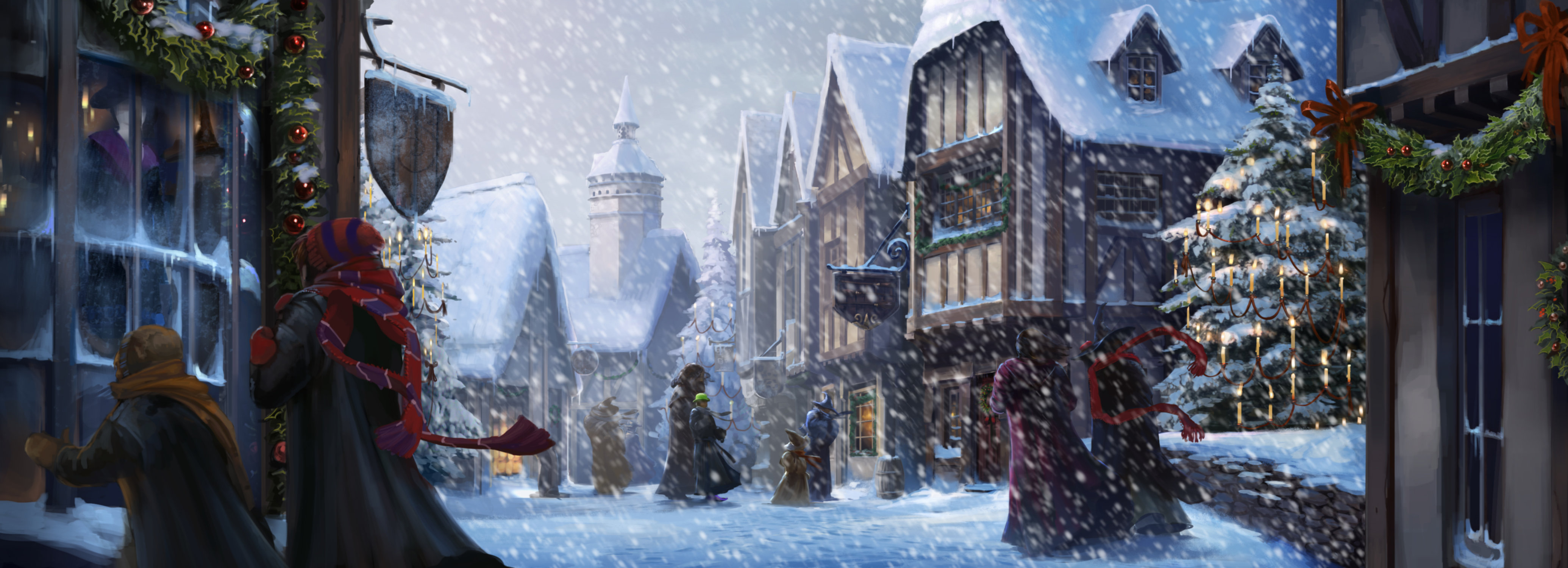A snowy Hogsmeade with Hermione Ron and an invisible Harry.