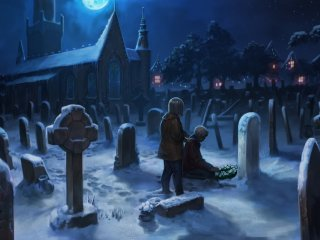 Harry and Hermione lay flowers on the Potters' Grave.