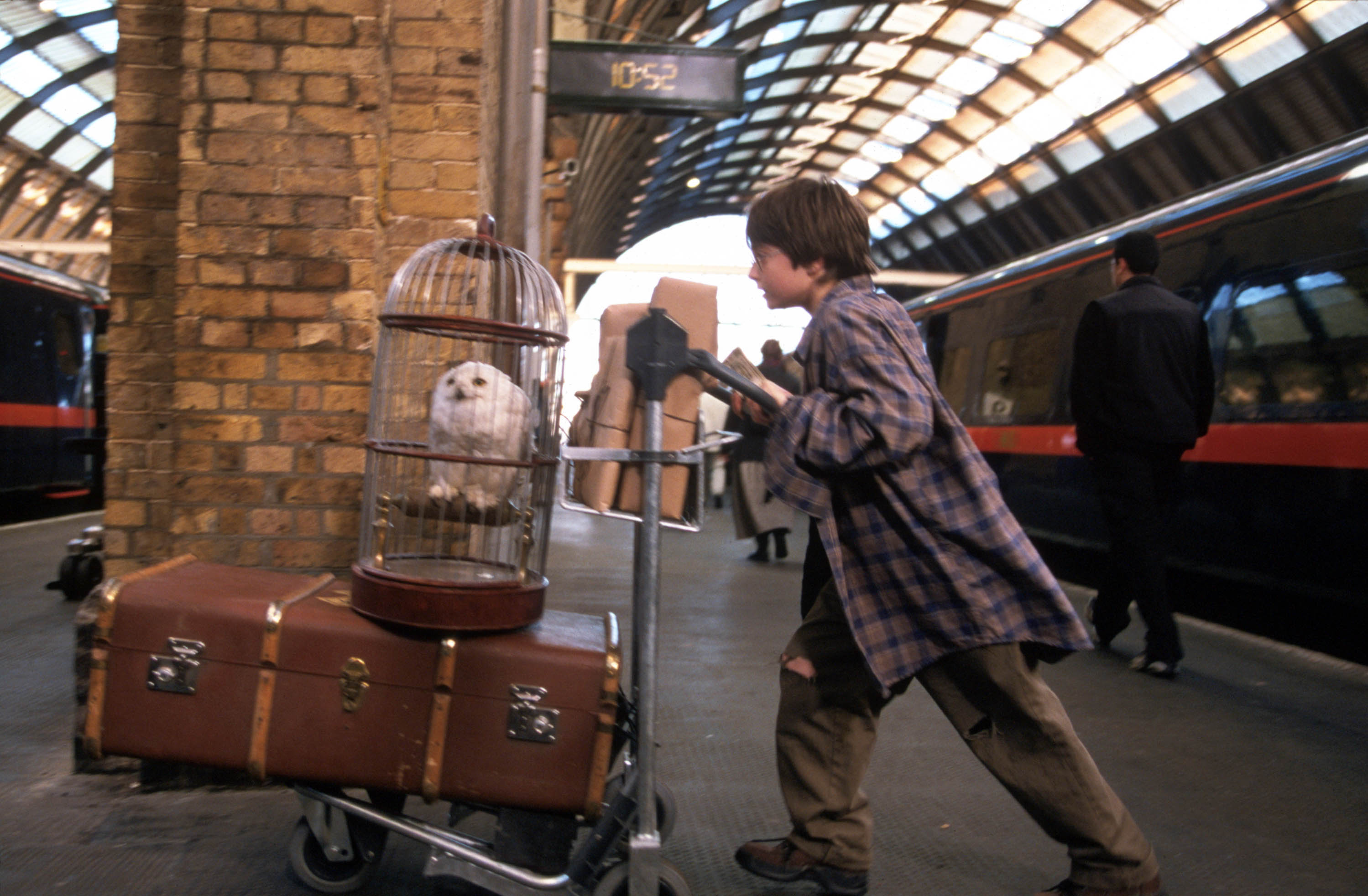 Harry Potter at the train station with his trolley and Hedwig in her cage