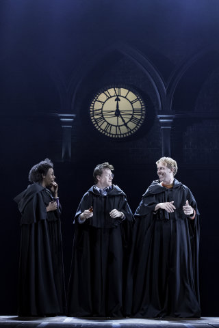 Hermione, Harry and Ron wearing robes, from Harry Potter and the Cursed Child