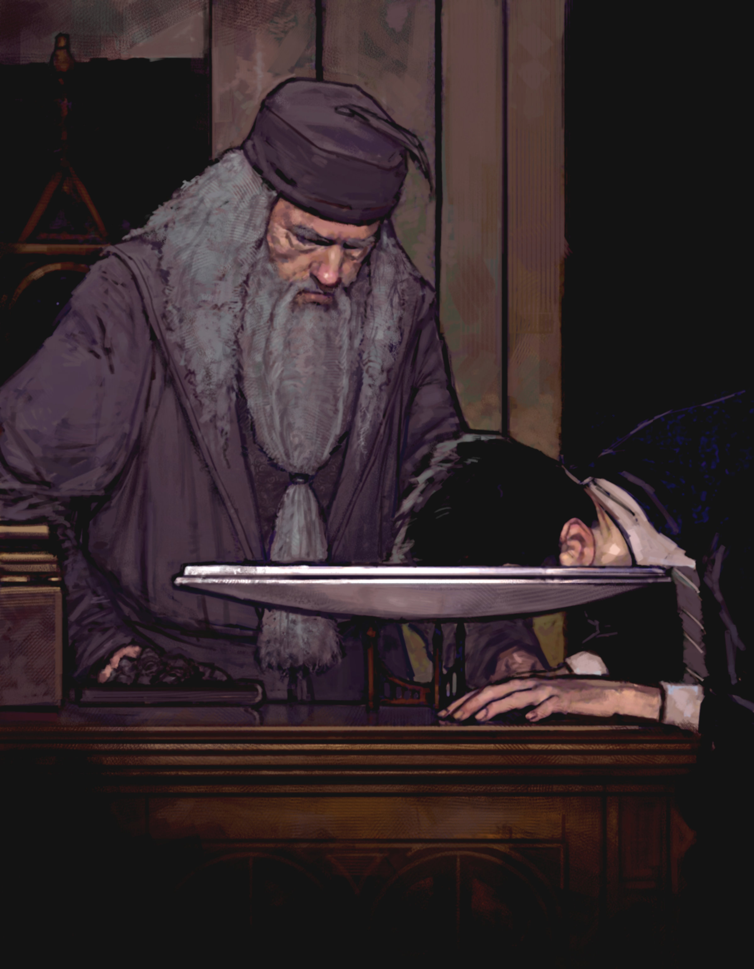 An illustration of Harry using Dumbledore's Pensieve in order to learn about Voldemort